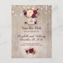 Rustic Floral Burgundy Save the Date Announcement Postcard