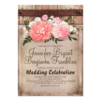 Rustic Floral Burlap and Wood Fall Wedding Card