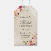 Rustic Floral Burlap Lace Bridal Shower Favor Gift Tags