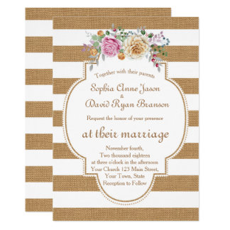 Rustic Floral Burlap Stripes Wedding Invitation