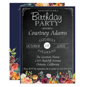 Beach Themed Rustic Floral Chalkboard Birthday Invitation