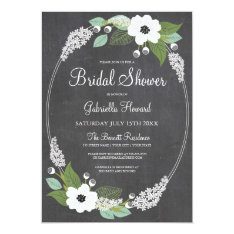 Rustic Floral Chalkboard Bridal Shower Invitation at Zazzle