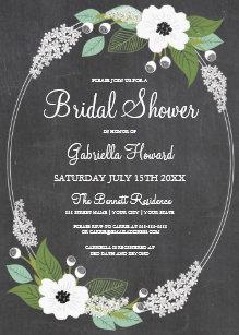 Chalkboard bridal shower invitations announcements zazzle rustic floral chalkboard bridal shower invitation filmwisefo Choice Image