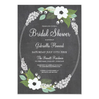 Rustic Floral Chalkboard Bridal Shower Invitation