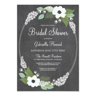 Rustic Floral Chalkboard Bridal Shower Invitation