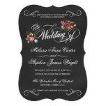 Rustic Floral Chalkboard Die-Cut Wedding Invites