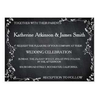 Rustic Floral Chalkboard Wedding Card