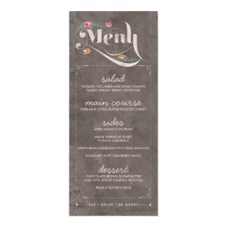 Rustic Floral Chalkboard Wedding Menu Cards