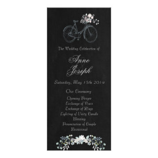 Rustic floral chalkboard wedding program customized rack card