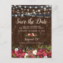 Rustic Floral Christmas Party Save the Date Announcement Postcard