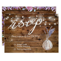Rustic Floral Country Barn RSVP Wedding Card
