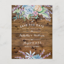 Rustic Floral Country Barn Save the Date Announcement Postcard