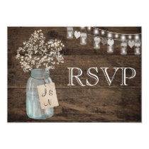Rustic Floral Country Barn Wedding RSVP Invitation
