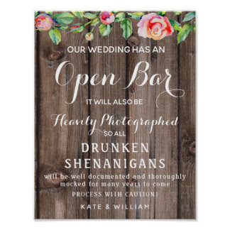 Rustic floral Country Open Bar wedding sign