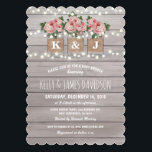 """Rustic Floral Couple Baby Shower Card<br><div class=""""desc"""">Stylish rustic baby shower invitations with a light gray rustic wood background,  string twinkle lights,  three pink rose mason jars with burlap wrapped around them,  you and your partners initials printed on the jam jars and trendy white wording.</div>"""