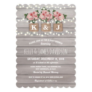 Perfect Rustic Floral Couple Baby Shower Card