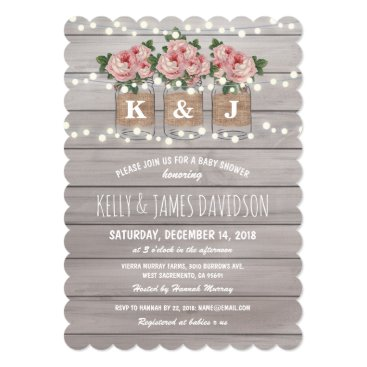 Toddler & Baby themed Rustic Floral Couple Baby Shower Card