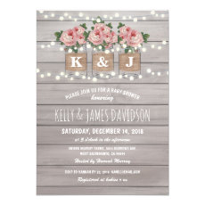 Custom Rustic Floral Couple Baby Shower Invitation