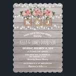 "Rustic Floral Couple Baby Shower Invitation<br><div class=""desc"">Stylish rustic baby shower invitations with a light gray rustic wood background,  string twinkle lights,  three pink rose mason jars with burlap wrapped around them,  you and your partners initials printed on the jam jars and trendy white wording.</div>"