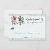 Rustic Floral Cow Skull Bohemian Wedding RSVP