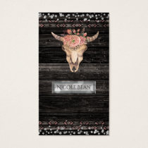 Rustic Floral Cow Skull Boho Chic Glam Custom Business Card