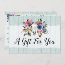 Rustic Floral Cow Skull Boho Gift Certificate Card