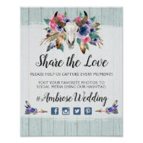 Rustic Floral Cow Skull Boho Wedding Hashtag Photo Poster