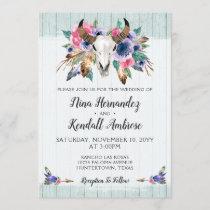 Rustic Floral Cow Skull Boho Wedding Invitation