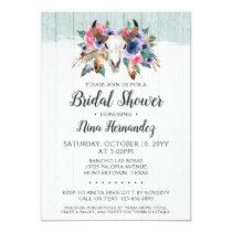 Rustic Floral Cow Skull Bridal Shower Invitation
