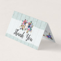 Rustic Floral Cow Skull Watercolor Boho Thank You