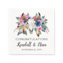 Rustic Floral Cow Skull Watercolor Boho Wedding Napkin