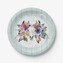 Rustic Floral Cow Skull Watercolor Boho Wedding Paper Plate