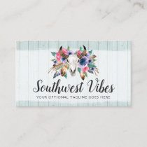 Rustic Floral Cow Skull Watercolor Wood Boho Chic Business Card