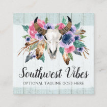 Rustic Floral Cow Skull Watercolor Wood Boho Chic Square Business Card