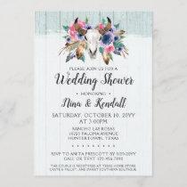 Rustic Floral Cow Skull Wedding Shower Invitation