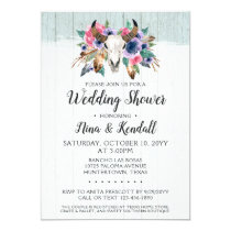 Rustic Floral Cow Skull Wedding Shower Invitation