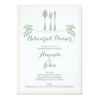 Rustic Floral Cutlery Rehearsal Dinner Invitation
