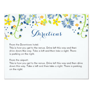 Rustic Floral Directions Info Card Navy Yellow