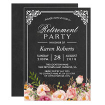 Rustic Floral Elegant Chalkboard Retirement Party Card