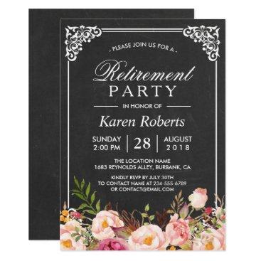 retirements Rustic Floral Elegant Chalkboard Retirement Party Card