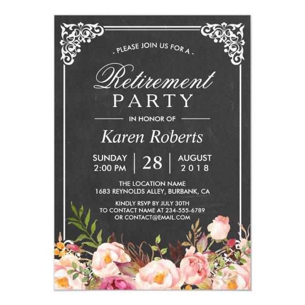 Rustic Floral Elegant Chalkboard Retirement Party Card