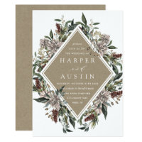 Rustic Floral Fall Winter Wedding Invitation