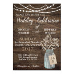Rustic Floral Flower Country Mason Jar Wedding Card