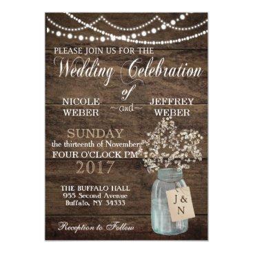My_Wedding_Bliss Rustic Floral Flower Country Mason Jar Wedding Card