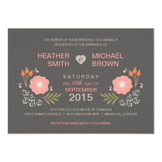 "Rustic Floral Formal Style Wedding Invitations 4.5"" X 6.25"" Invitation Card"