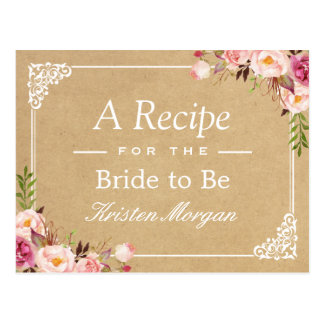 Rustic Floral Frame Kraft Bridal Shower Recipe Postcard
