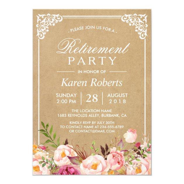 Rustic Floral Frame Kraft   Retirement Party Card
