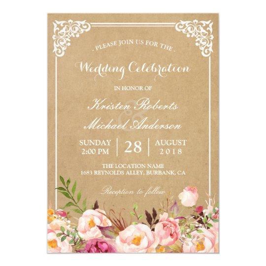 Rustic Floral Frame Kraft   Wedding Celebration Card