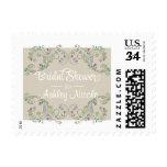 Rustic Floral Frame Linen Look Bridal Shower Postage Stamps