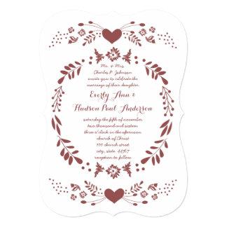 Rustic Floral Garland Folk Art Marsala Wedding Card